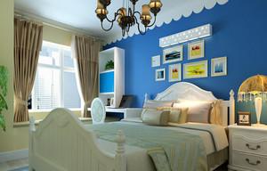 大戶型藍色海洋地中海風格臥室背景墻設計裝修效果圖