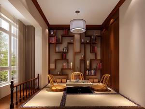120平米大户型现代轻松书房书柜设计装修效果图