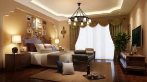 两居室地中海风格卧室窗帘装修效果图