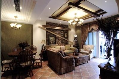 美式乡村风格别墅客厅吊顶效果图