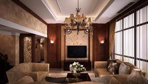 温暖厚重的美式客厅吊顶电视背景墙装修效果图鉴赏
