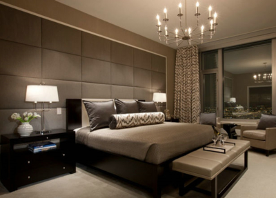 50平米簡歐風格臥室軟包床頭背景墻裝修