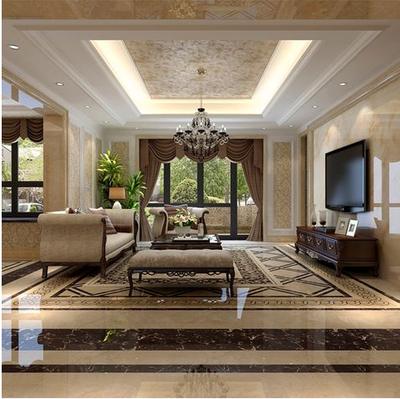 美式别墅客厅吊顶装修效果图