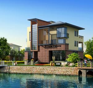充满自然美的农村新式自建小洋房外观效果图