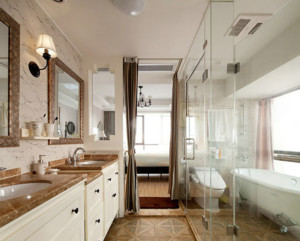 单身公寓玻璃隔断洗手间装修效果图