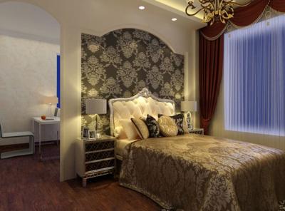 50平米簡歐風格臥室背景墻裝修