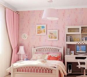 甜美小女生兒童房小臥室壁紙裝修效果圖