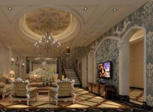 90平米法式风格客厅背景墙装修效果图