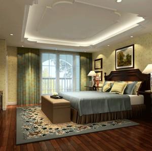 美式风格大户型卧室飘窗装修效果图