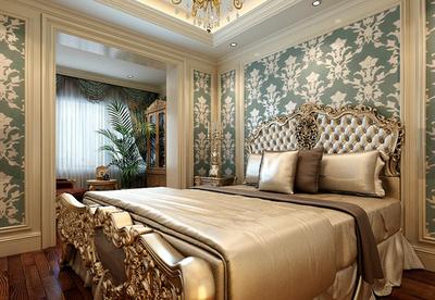 大戶型豪華的古典臥室背景墻裝修效果圖