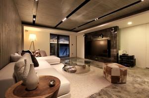 深沉稳重的新古典风格别墅客厅电视背景墙装修图片