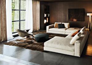 120平米时尚个性卧室客厅一体化房屋装修效果图