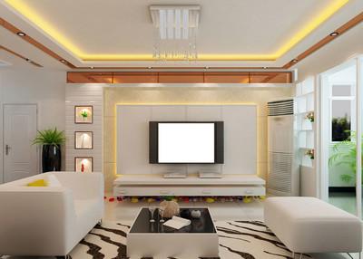 大氣唯美簡歐風格客廳電視背景墻裝修效果圖