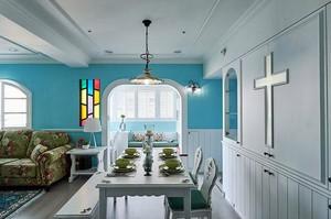 現代水色田園:160平米三室兩廳兩衛裝修效果圖