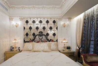 豪華舒適的歐式大戶型臥室壁紙裝修效果圖