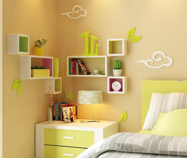 现代简约创意风格墙上置物架装修效果图