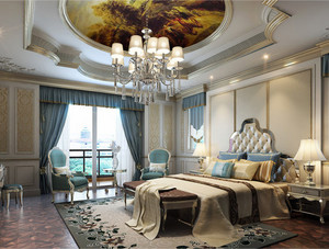 別墅法式簡約風格臥室吊頂裝飾效果圖