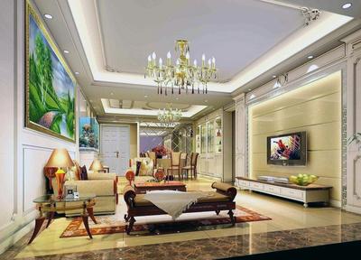 别墅型欧式客厅吊顶装修效果图