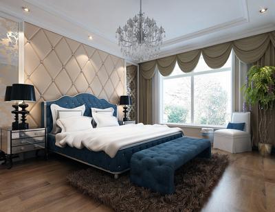 簡歐風格小戶型臥室背景墻裝修效果圖