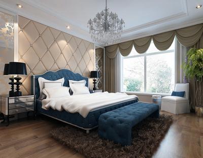 唯美大戶型簡歐臥室背景墻裝修效果圖