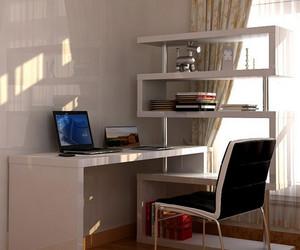 跃层简约风格书桌电脑桌一体式装修效果图