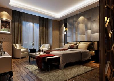120平米簡歐臥室3d背景墻裝修圖片