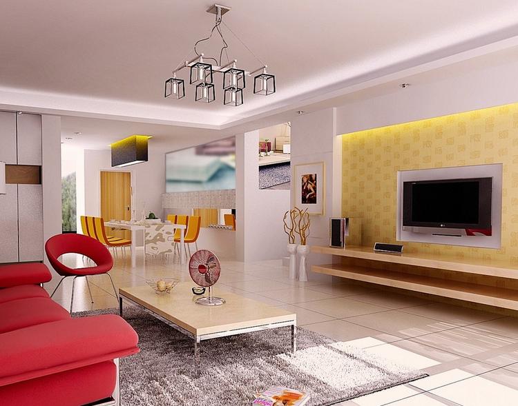 现代北欧风格大户型客厅电视背景墙装修效果图
