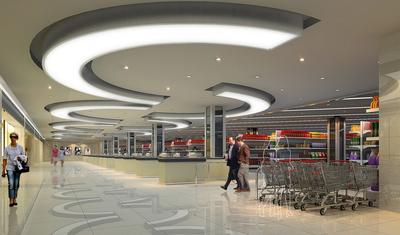 都市大型超市吊顶装修设计效果图
