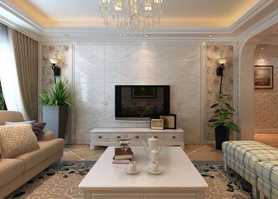 120平米奢華大氣簡歐風格客廳電視背景墻裝飾