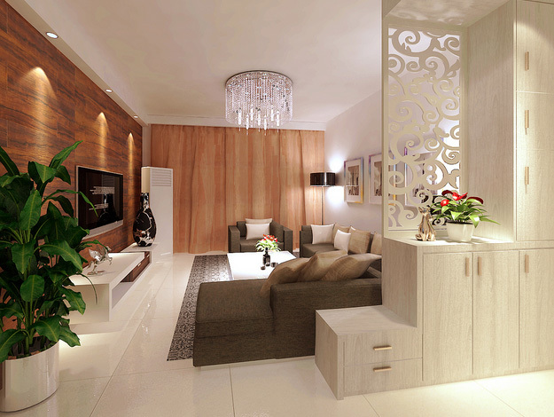 现代简约风格客厅镂空隔断装修效果图