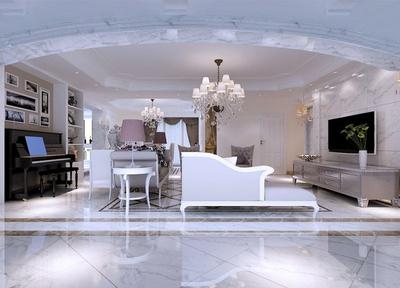 180平米簡歐風格客廳電視背景墻裝飾圖