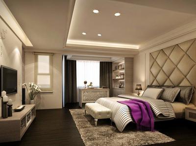 现代简约风格独栋别墅卧室装修效果图