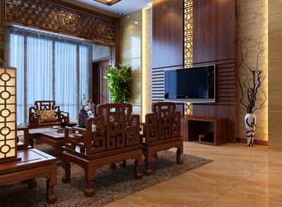 大型別墅中式家裝客廳精致原木家具裝修效果圖