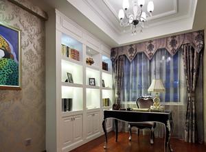 別墅歐式簡約風格書房壁紙裝修效果圖