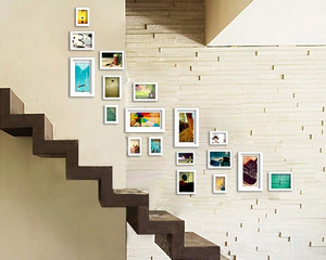 小清新躍層住宅樓梯照片墻設計效果圖