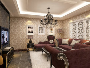 特色鲜明:都市小客厅液体壁纸效果图