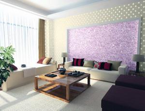 100平米大戶型客廳液體壁紙背景墻裝修效果圖
