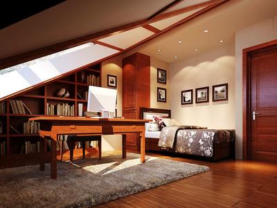 復式樓新中式閣樓書房裝修樣板房