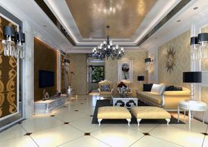 100平米大户型简欧风格客厅吊顶装修效果图