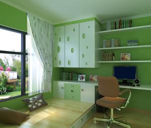 清新绿色大户型书房榻榻米装修效果图