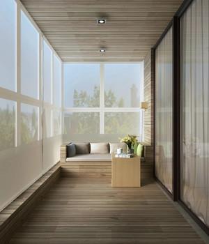 原木风小户型家居狭长阳台装修实景图片