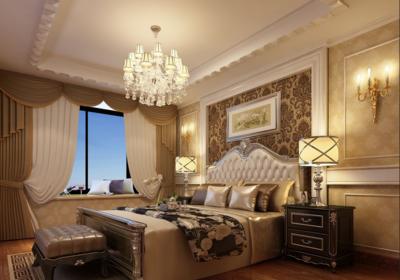 現代大戶型簡歐風格臥室背景墻裝修效果圖