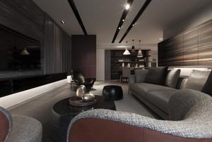 2016咖啡色调三居室客厅装修设计图片