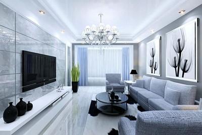 簡歐風格別墅型客廳電視背景墻效果圖