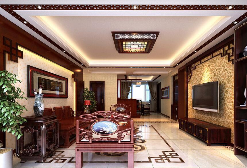 精美的现代大户型时尚中式客厅足彩导航效果图