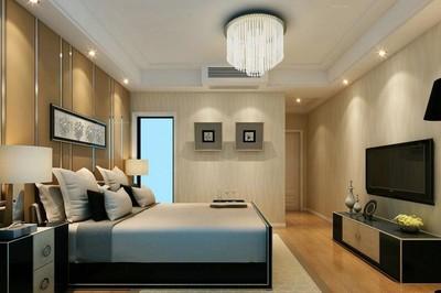 别墅型经典现代简约卧室背景墙装修效果图