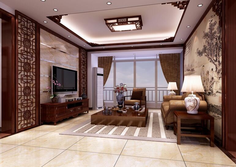 现代精致大户型中式客厅背景墙足彩导航效果图