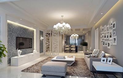 2016别墅型现代简约客厅背景墙装修效果图