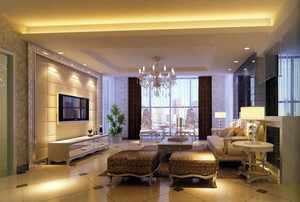 現代別墅型歐式風格客廳裝修效果圖