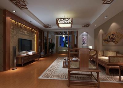 新古典中式风格客厅吊顶装修效果图